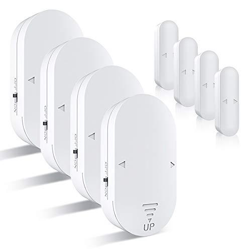 Time Delay Door Alarm 5-in-1 Mode Freezer Door Alarm When Left Open with130dB, Door Sensor Chime Alert for Home/Kids Safety/Business (White 4 Pack)