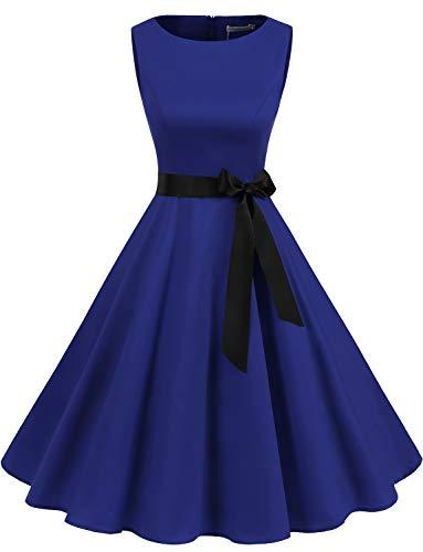Gardenwed Gardenwed Damen 1950er Vintage Cocktailkleid Rockabilly Retro Schwingen Kleid Faltenrock Royal Blue XS