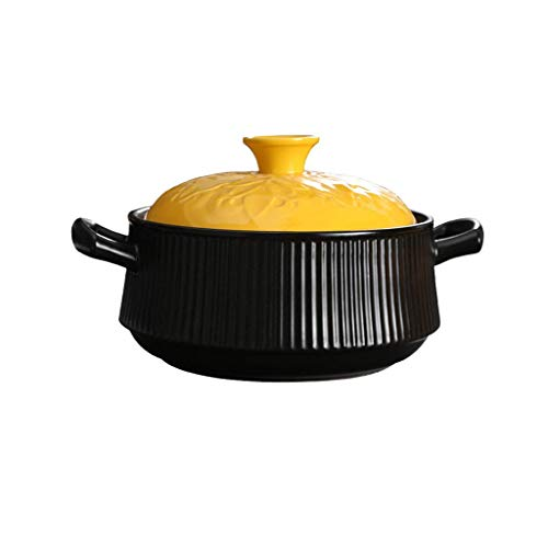 Diaod Cacerola de cerámica, cazuela, Antiadherente de cerámica de Gran Capacidad Salud Gachas Pot inducción guisado de la Sopa Pan (Size : 3L)