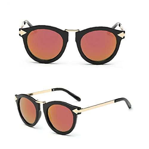Gafas de Sol, Unisex Gafas de Sol polarizadas Retro clásico de Moda con Estilo Gafas de Sol UV Protección de Cristal Hombres Mujeres Negro y Rojo 1PC