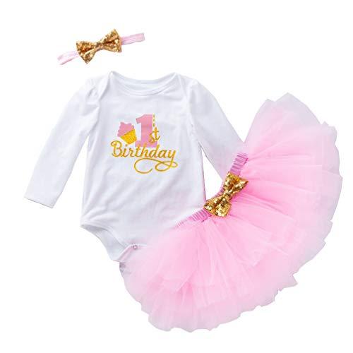 Gagacity Abiti Vestito Bambina 3 Pezzi Neonata Primo/Secondo Compleanno Abbigliamento Pagliaccetto+Gonna+Fascia