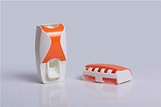 YFHRB 現代の自動ホーム浴室歯磨き粉のディスペンサー+ 5個歯ブラシホルダーセットファミリーウォールマウントオーラルバスラック (Color : オレンジ)