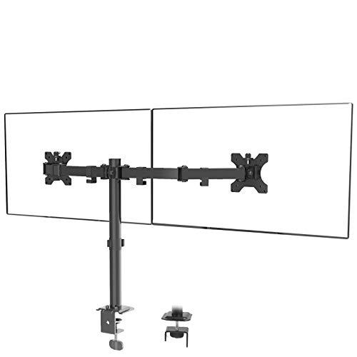 メティヤ モニターアーム デュアル 2画面 液晶ディスプレイ アーム 多角度調節 13-27インチ対応 耐荷重8kg(各アーム)クランプ式 pcモニタースタンド VESA100*100 75*75(ブラック)