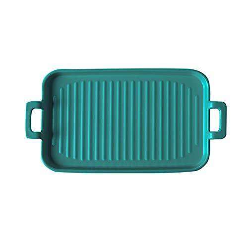 1 Piece Bakeware Creative Binaural Ceramic Baking Pan Baking Sheet Green