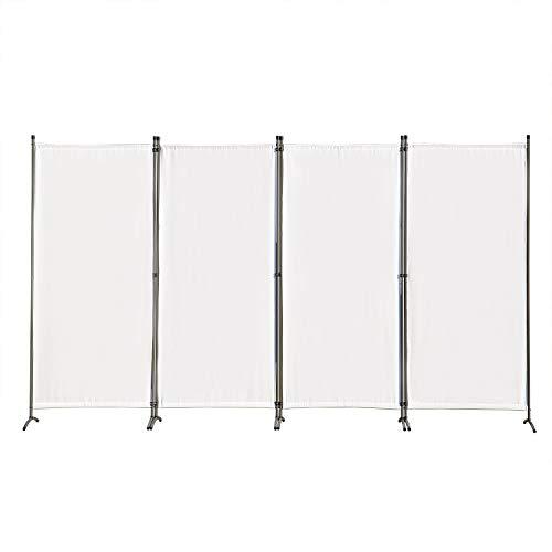 Angel Living Biombo Grande de 4 Paneles, Decoración Elegante, Separador de Ambientes Plegable, Divisor de Habitaciones, 333X170 cm (Blanco)
