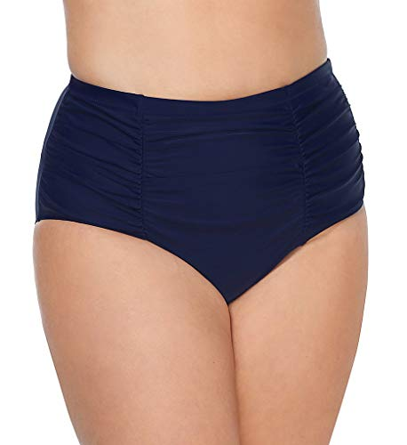 Raisins Womens Plus Ruched Bikini Swim Bottom Separates Navy 16W