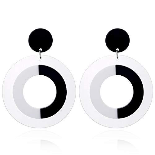LPNJLALA Pendientes Colgantes de acrílico Blanco y Negro de círculo Grande para Mujer Pendientes de Personalidad Hip-Hop