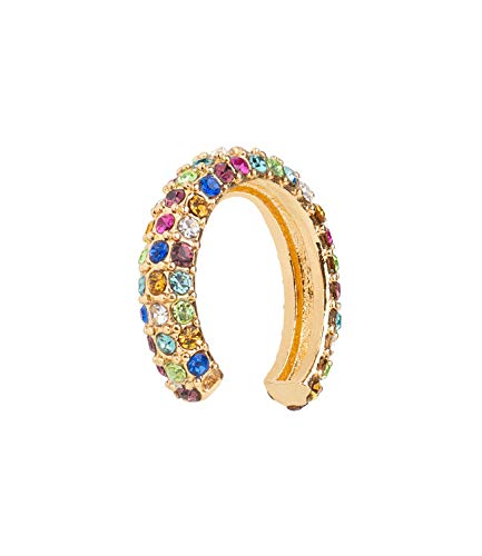 SIX Piercing dorado con piedras brillantes de colores pastel, rosa, verde, blanco y azul (593-451)