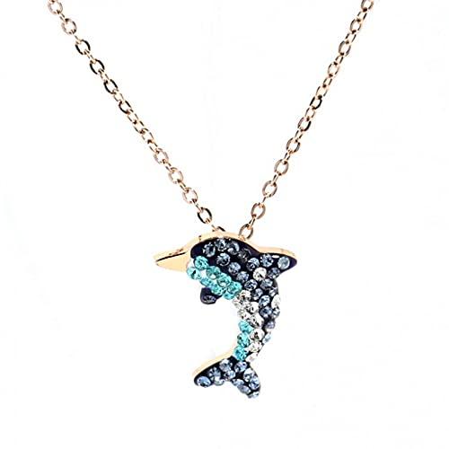 YQMJLF Collar Moda Accesorios Collares Mujer Acero Inoxidable 316L Nuevajoyería deModacircón Completo encantos de delfín Marino Cadena Gargantilla Collares Colgantes para Mujeres