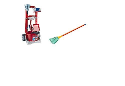 Vileda Putzwagen Besenwagen mit zahlreichem Zubehör für Kinder / Kinder Spielzeug / Wischmop-Set mit Eimer und Aufsatz , Besen , Wischmop , Handfeger und Schaufel