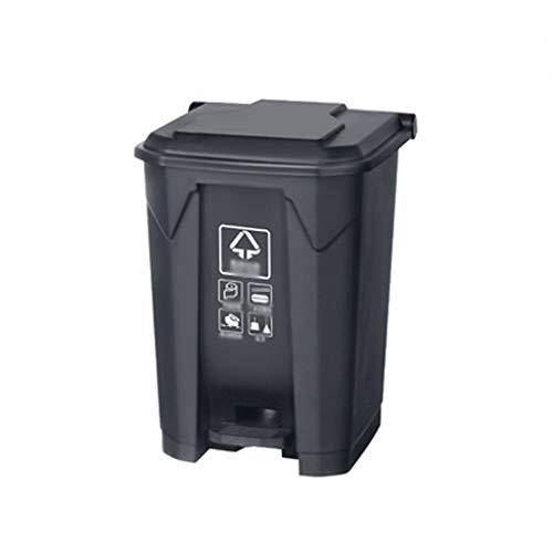 Mülleimer Zusätzliche Kapazität Kunststoff Trash Can, Outdoor/Indoor rechteckig Müllbehälter, mit Deckel Abfalleimer for Gewerbe/Haus Abfalleimer (Color : Black, Größe : 68l)