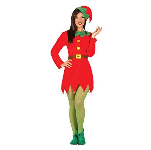 Guirca - Disfraz de Elfo para Mujer Adulta Elfa, Color Rojo y Verde, M,
