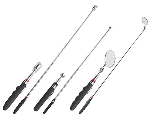 AGT Magnetstab: Teleskop-Werkzeug-Set mit Spiegel, Magnet-Heber & LED-Leuchte, 3-tlg. (Teleskopwerkzeug)