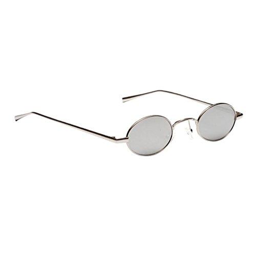 Bonarty Gafas de Sol con Montura de Metal Ovaladas Pequeñas Vintage para Mujer, Gafas de Moda de Tonos Retro - Plata Blanca, 145 × 42 × 32