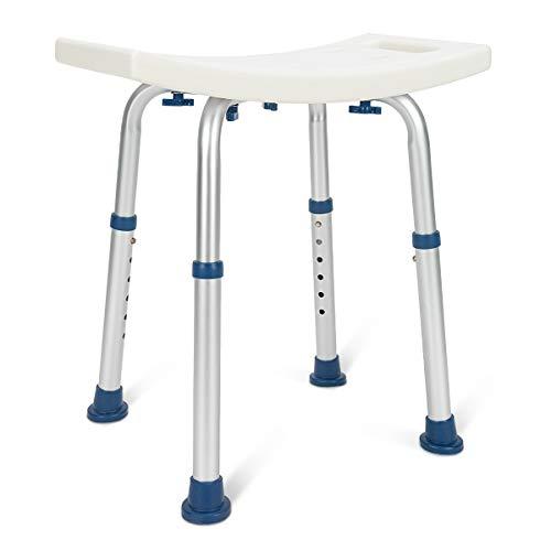 Zler Shower Chair, Adjustable Shower Seat 300lb Medical Tool Free Shower Chair for Bathtub Heavy Duty Shower Stool Bath Seat Bench for Elderly, Senior, Handicap, Disabled