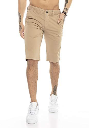 Redbridge Herren Chino Shorts Bermuda Kurze Hose Business Casual Knielang Braun W31
