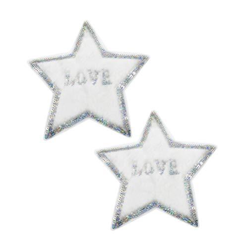 SUPVOX 2 peças de adesivos de costura de pelúcia bordados com estrelas e apliques de lantejoulas para artesanato de roupas de Natal, jaqueta jeans, bolsas de decoração