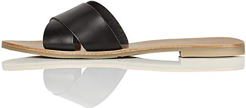 Marchio Amazon - FIND Flat Crossover Leather Sandali a Punta Aperta, Nero (Black), 36 EU