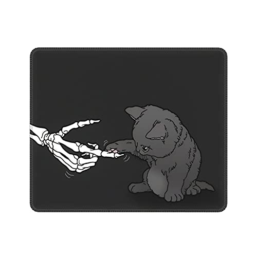 Cute Cat and Skull Gaming Mouse Pad, Waterproof Mouse Pad with Non-Slip Rubber Bottom 9.5 X 7.9 Inches