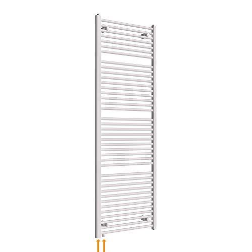 HEATSUPPLY Austauschheizkörper 1.662 x 600mm Handtuchheizkörper weiß mit Anschluss unten links oder rechts Renovierungsheizkörper versetzter Mittelanschluss