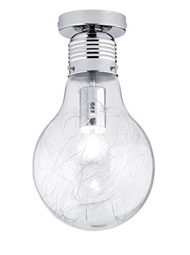 Action 900301010200 Futura - Lámpara de techo (1 casquillo E27, 60 W, 230 V, 37 cm de altura, 20 cm de diámetro, cromo y cristal con adornos de alambre), diseño de bombilla gigante