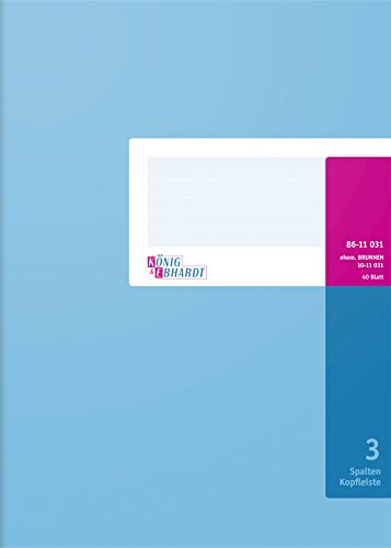 König & Ebhardt 8611031-7103K40KL Spaltenbuch mit Kopfleiste (A4, 3 Spalten, 40 Blatt) blau