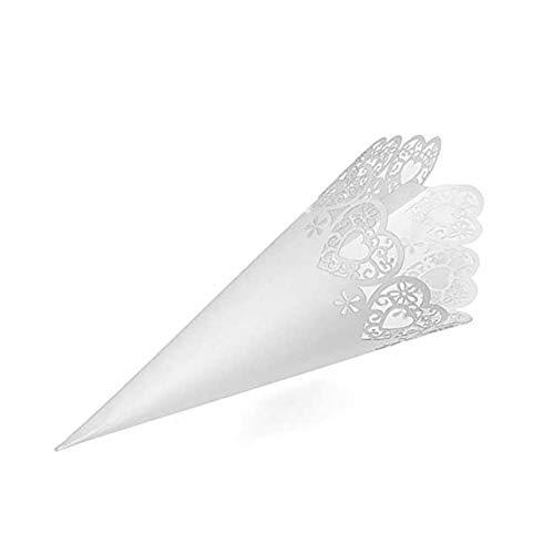 Sumshy 50pcs Conos Papel Blanco con Adhesivo de Doble Cara Arroz Boda Blanco Cucuruchos Petalos Confeti Decoración Boda