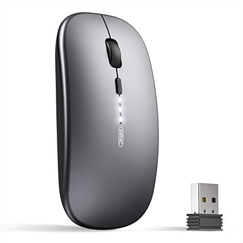INPHIC Ratón Inalámbrico Recargable, [Actualizado], Ultradelgado 2.4G silencioso Ratón para Ordenador 1600 dpi con Receptor USB para portátil PC Macbook, Office, Nivel de batería Visible, Gris
