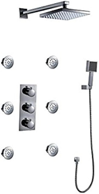 Robinet de douche mural avec tête de douche carrée, pommeau de douche et jets d'eau massant