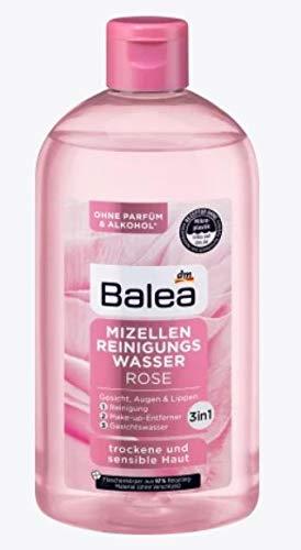 Mizellen Reinigungswasser mit Rosenwasser | 3 in 1: Reinigung, Make-up Entferner und Gesichtswasser | Für trockene und sensible Haut | 400 ml Wirksame Reinigung für Gesicht, Augen und Lippen |