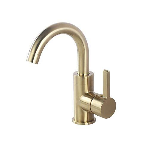 HONYGE LXGANG grifo de cobre completo lavabo oro codo baño lavabo lavado mano y agua fría grifo baño