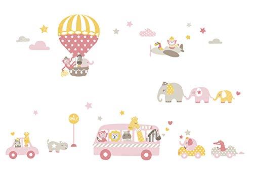 lovely label Pegatinas Infantiles de los Animales – Adhesivo Infantil Libre de PVC para Habitaciones de Niños y Bebés – Adhesivos Infantiles de 33 unidades – rosa/beige/amarillo