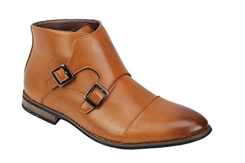 Xposed Männer Cap Toe Doppel Monk Strap Ankle Boots Leder gefüttert intelligente Elegante Schuhe [A2247H-TAN-42]