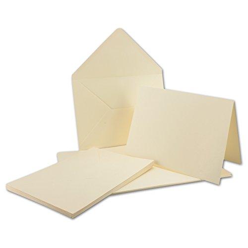 A5 Doppelkarten inklusive Briefumschläge - 50er-Set - Blanko Naturweiß Einladungskarten in Creme-Weiß - bedruckbare Post-Karten in DIN A5
