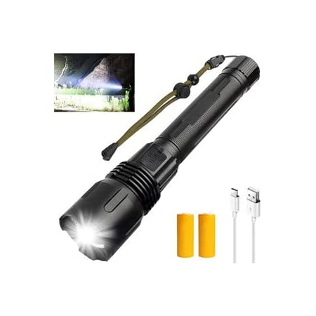 5 Modes,10000 Lumens Super Bright,Be applicable 26650 BatteriesIncluded Camping,Hiking Biking Outdoor Black Zoomable Waterproof YUKU Rechargeable Led Flashlight