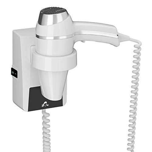 JVD–Secador de especial cuarto de baño–Clipper II color blanco 1400W–Soporte de pared con interruptor on/off