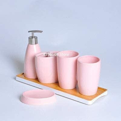 Conjunto de accesorios de baño, Cerámica Accesorios de decoración de baño Conjunto de lavado Dispensador de jabón Soporte de cepillo de dientes Botella Suministros de baño (Color: Amarillo, Tamaño: Gr