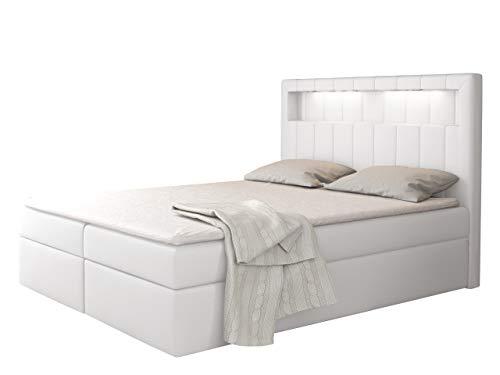 Boxspringbett Snap mit LED-Beleuchtung Doppelbett mit 2 Bettkästen Matratze + Topper Amerikanisches Continentalbett Polsterbett Farbauswahl Bett mit Kopfteil Bettgestell (Soft 017, 200 x 200 cm)