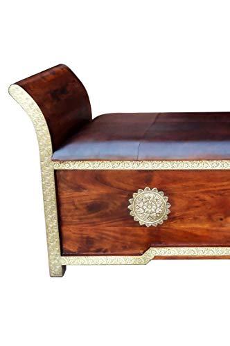 Orientalische Sitzbank Kiste aus Holz Moha -2- 155cm groß mit Messing | Vintage Truhe mit Aufbewahrung für den Flur | Aufbewahrungsbox im Bad | Betttruhe als Kissenbox oder Deko im Schlafzimmer - 3