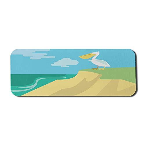Pelican Computer Mouse Pad, tropische Fauna Tier am Strand Flussufer Habitat Thema Flache Grafik Design, Rechteck rutschfeste Gummi Mousepad große mehrfarbig