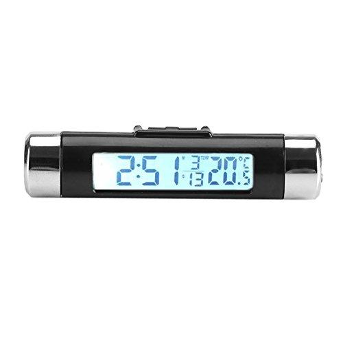 3 en 1 Vehículo Termómetro interior Automático Reloj digital Monitor Clip-on para camión Coche Ventilación de aire LCD Retroiluminación (No se incluye la batería)(Luz de fondo blanca)