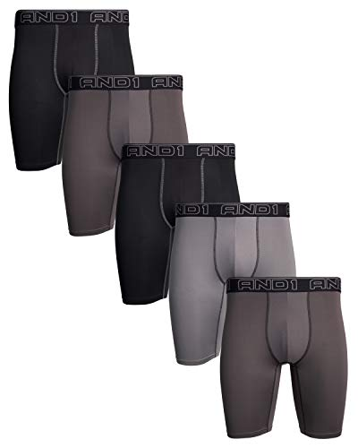 AND1 Mens Compression Long Leg Performance Boxer Briefs (5 Pack), Black/Grey/Charcoal, Size Large'