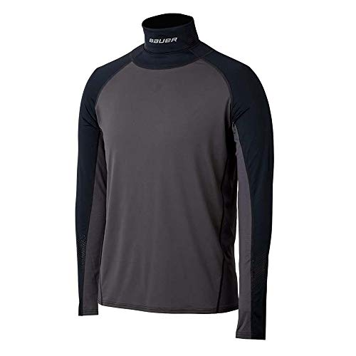 Bauer S19 Hockey Long Sleeve Neck Protect Shirt, Certified Integrated Neck...