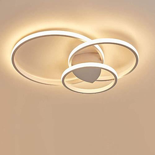 Plafoniera a LED Lampade da soggiorno rotonde moderne Plafoniera in acrilico con telecomando Lampadario in metallo Lampade di illuminazione per camera da letto dimmerabili, bianco, 3 cerchi 54W