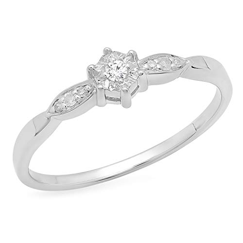 Dazzlingrock Collection 0.05 Carat (ctw) Round White Diamond Ladies Bridal Promise Engagement Ring, 925 Sterling Silver, Size 7