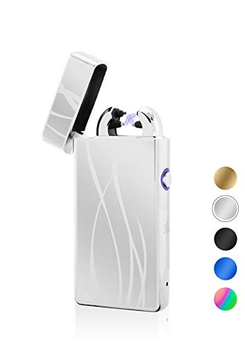 TESLA Lighter T08 Motiv Linien Silber Lichtbogen Feuerzeug USB Aufladbar Elektro Sturmfest Plasma Doppel-Lichtbogen mit Akku