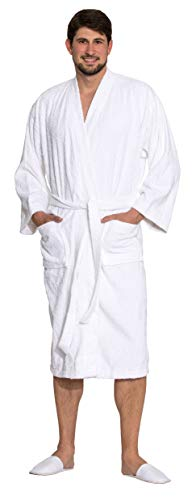 ZOLLNER Albornoz de ducha hombre y mujer, 100% algodón, blanco, 019