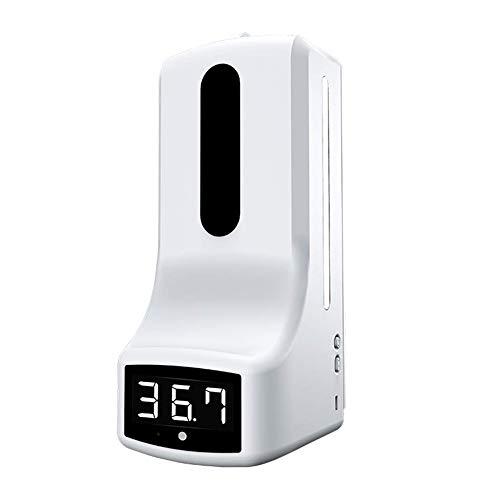 TaiWang Termómetro 2 en 1 con dispensador de jabón de Montaje en Pared, termómetro Digital K9 sin Contacto con Alarma para Oficina, hogar, supermercado, Metro,with Bracket
