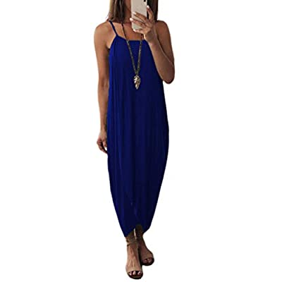 W-Fight Womens Summer Spaghetti Strap Sling Maxi Long Wrap Dress Solid Color Split Irregular Ethnic Loose