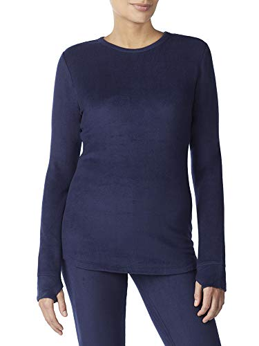 Cuddl Duds ClimateRight Womens Stretch Fleece Long Sleeve Crew Top/Shirt (M, Deep Navy)